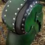 green threeqtr back  leather helm
