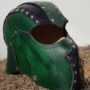 green threeqtr front  leather helm