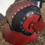 red back leather helm