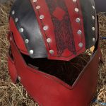red front leather helm